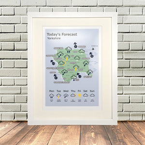 Funny Yorkshire Weather Map Print
