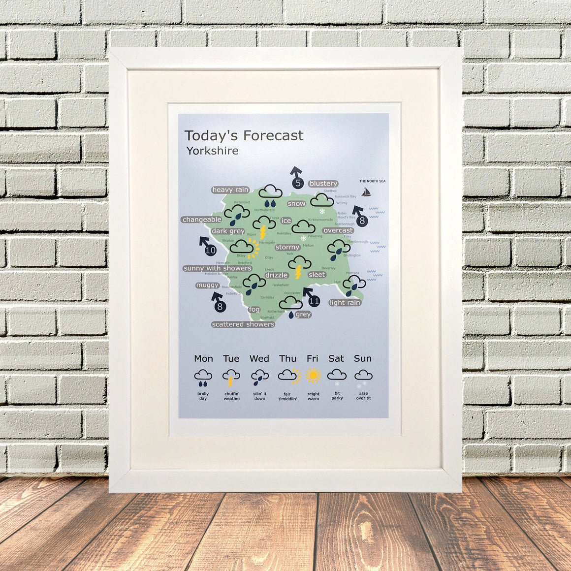 Funny Yorkshire Gifts 'Weather Print'