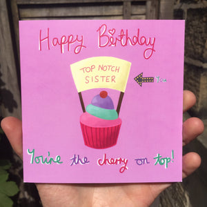 Cherry on top sister Birthday Greeting Card