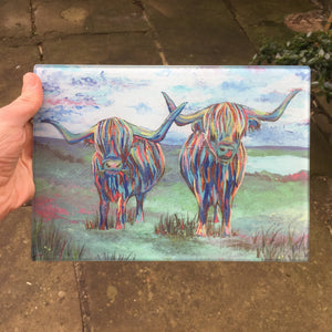 Double Highland Cow Glass Chopping Board