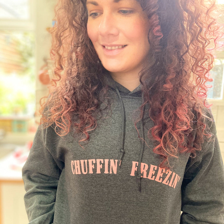 Ladies Yorkshire Dark Grey Hoodie - 'Chuffin' Freezin'