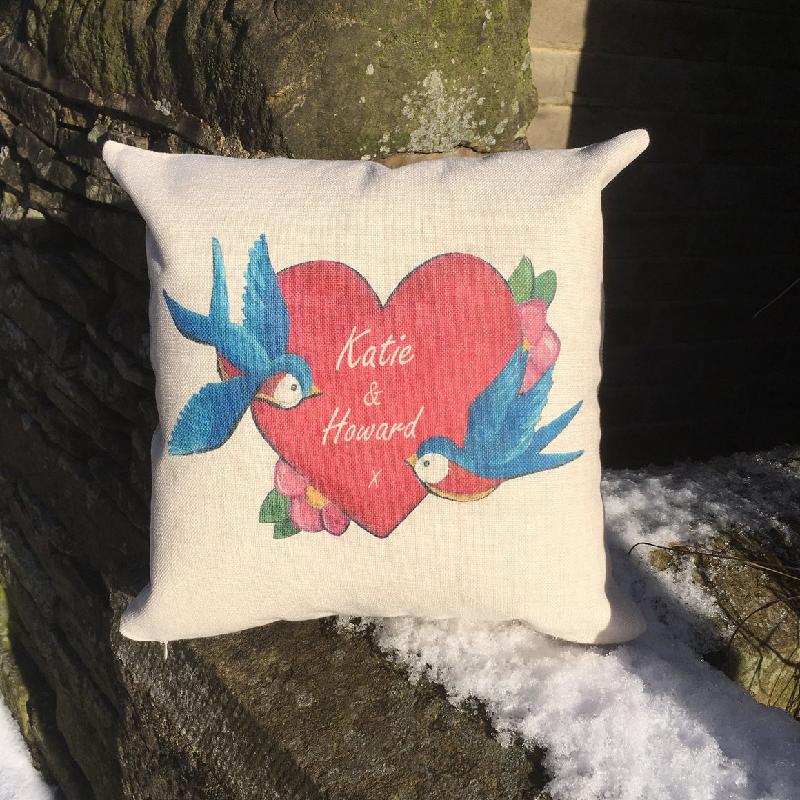 Personalised Heart Love Tattoo Cushion Pillow