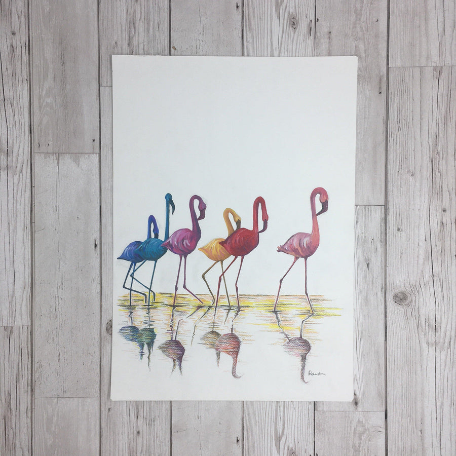 Flamingos Painting Original Artwork