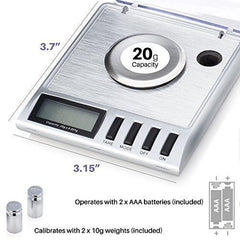 2f3d32703fc6 Smart Weigh High Precision Digital Milligram Jewelry Scale, 20 x 0.001g,  Calibration Weights and Tweezers Included.