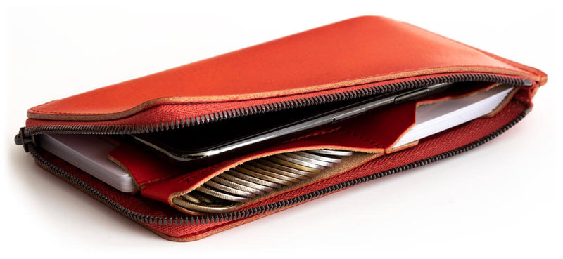 A thin long wallet that can go into a smartphone