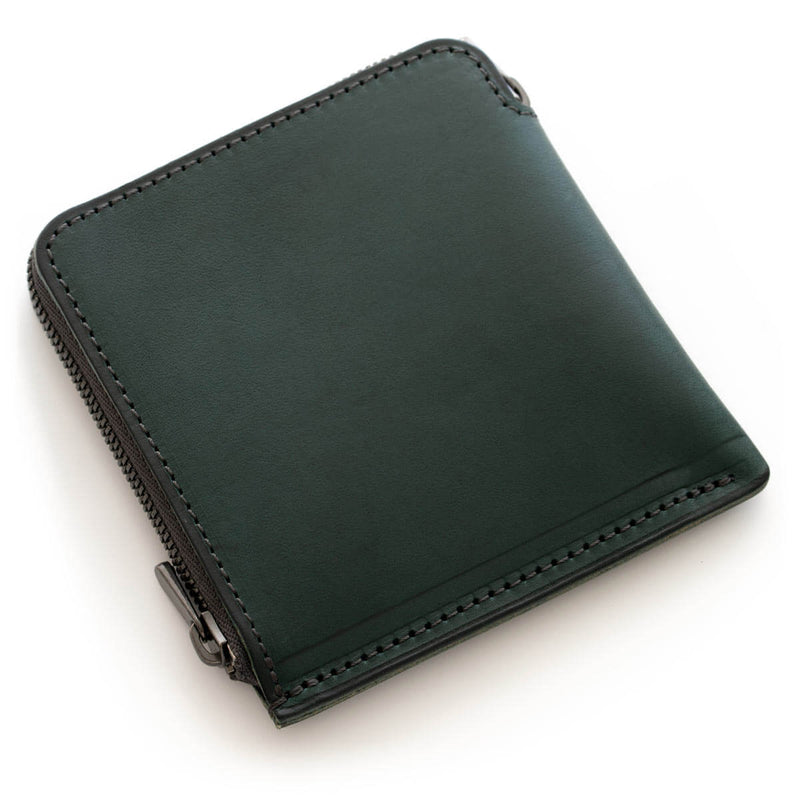 Thick leather thin wallet HITOE L-zip S Agave