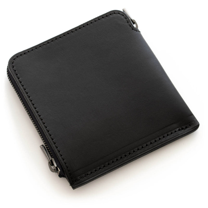 Thick leather thin wallet HITOE L-zip S Nero