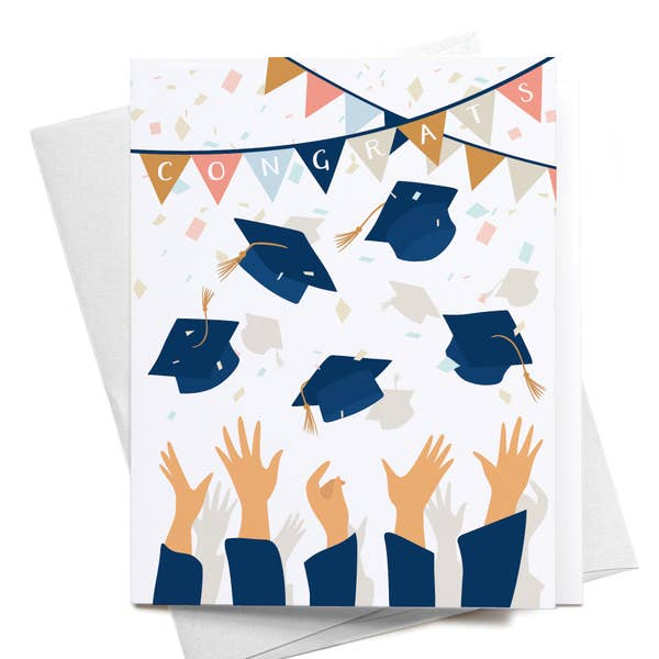 Congrats Graduation Caps Greeting Card
