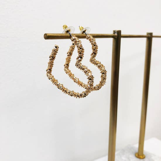 Metal Heart Hoop Earrings - Gold