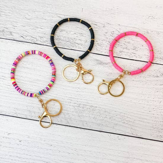 Rubber Disc Bangle Key Rings Multi