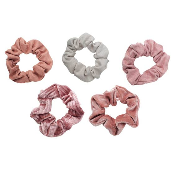 Blush and Mauve Velvet Scrunchies