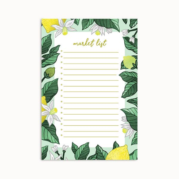 Lemon Delight Market List Notepad