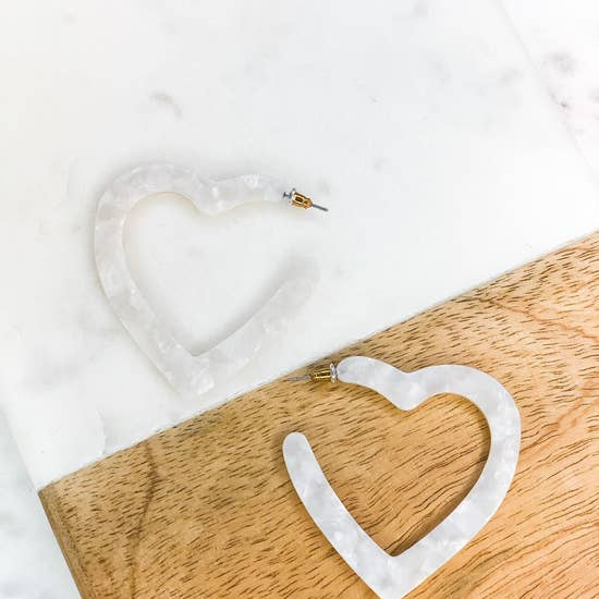 White Acrylic Heart Hoop Earrings
