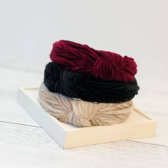 Top Knot Velvet Textured Headbands