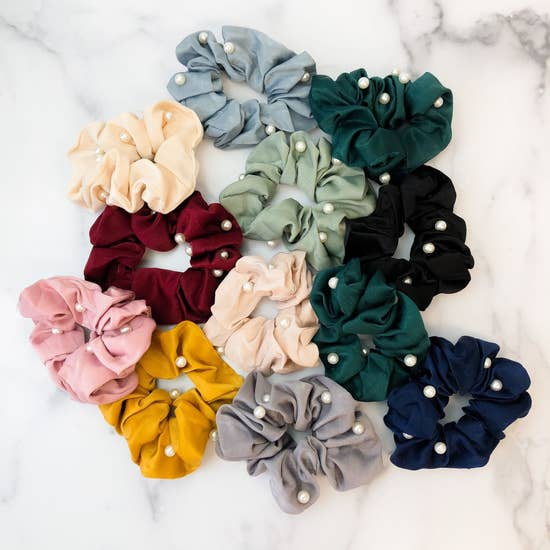 Pearl Satin Hair Scrunchie