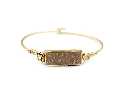 Gold Hinge Bracelet with Light Pink Rectangle Faux Druzy