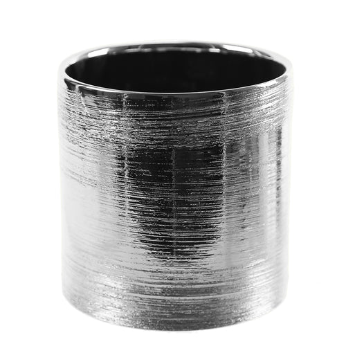 Silver Scratched Cylinder Ceramic 6""