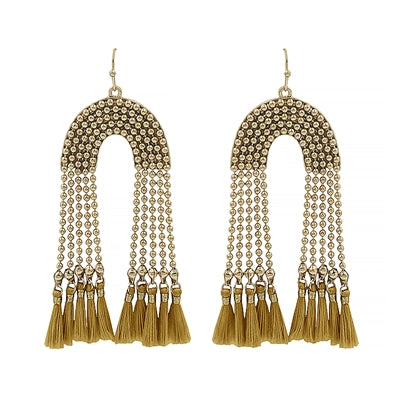 Gold Beaded Chain Tassel Earrings