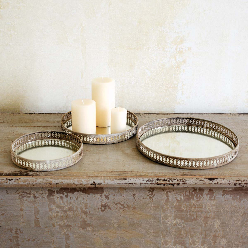 French Mirrored Trivets - Large