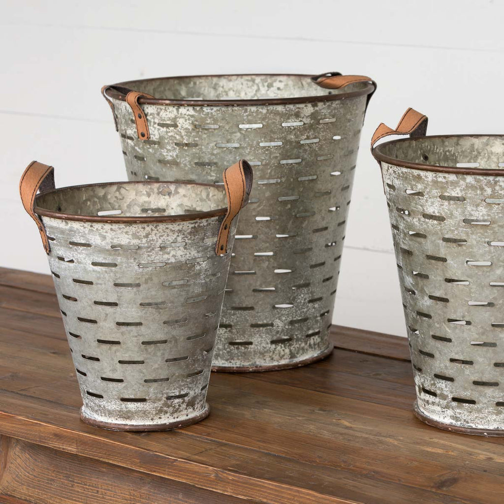 Metal Olive Bucket - Medium