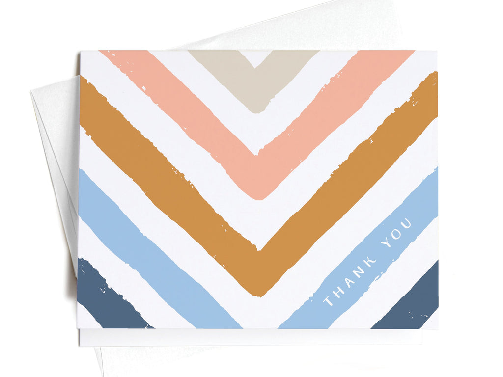 Thank You Chevron Multi-Color Stripe Notecards - onderkast-studio