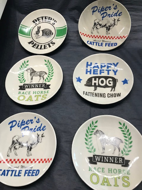 Stoneware Plates with Farm Animals