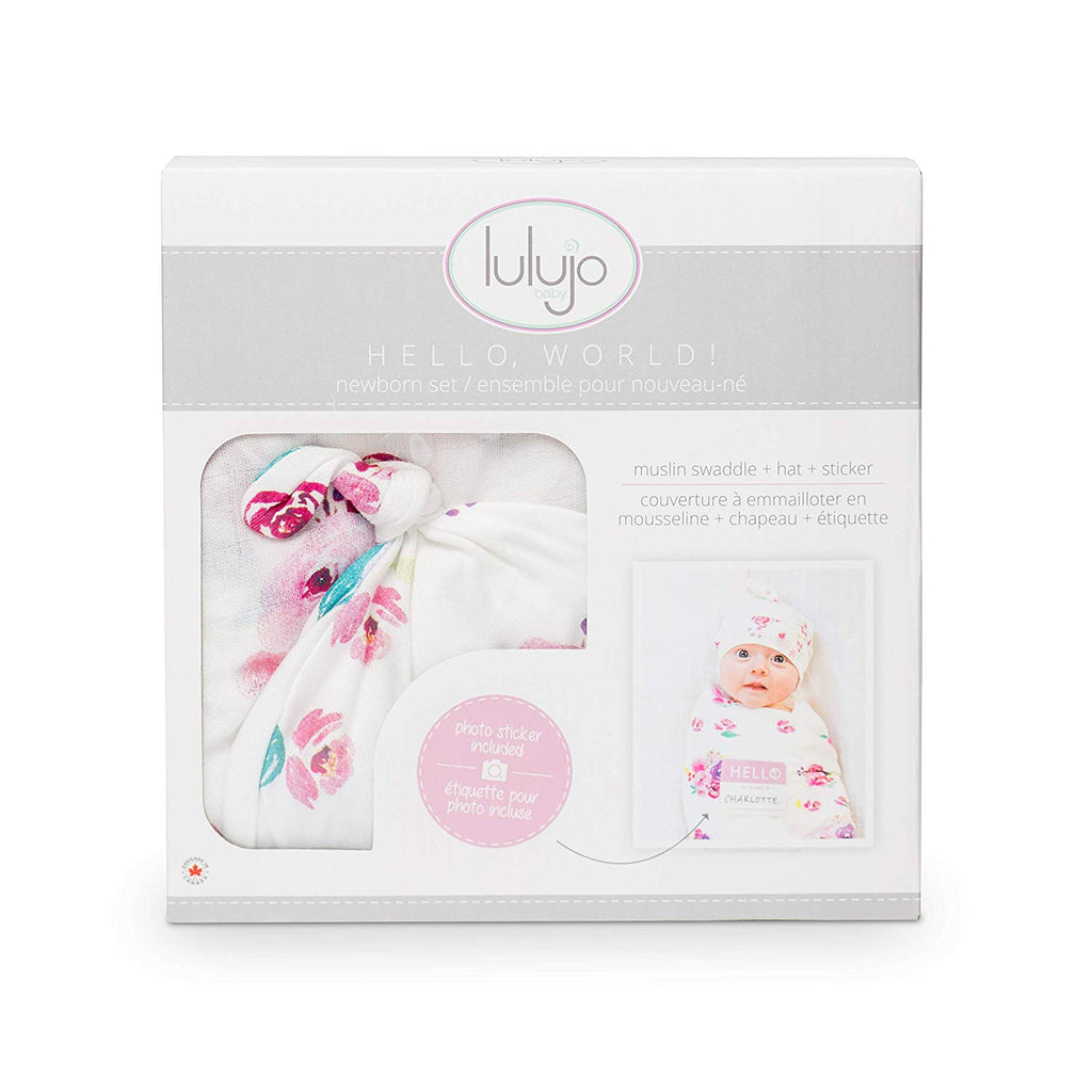 Hello World Hat & Swaddle set - Posies