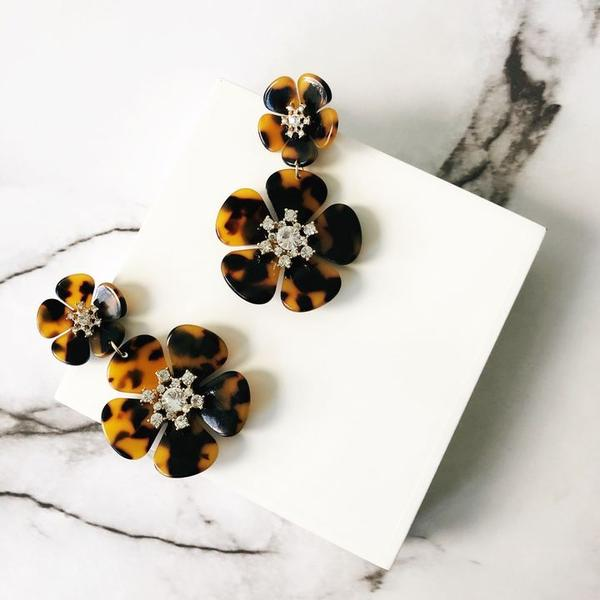 Michelle Avalon Flower Statement Earrings - Tortoise