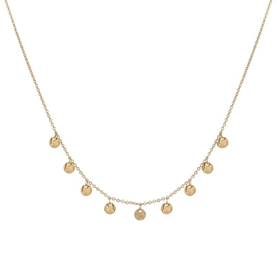 "Matte Gold with Gold Disc 16""-18"" Necklace"