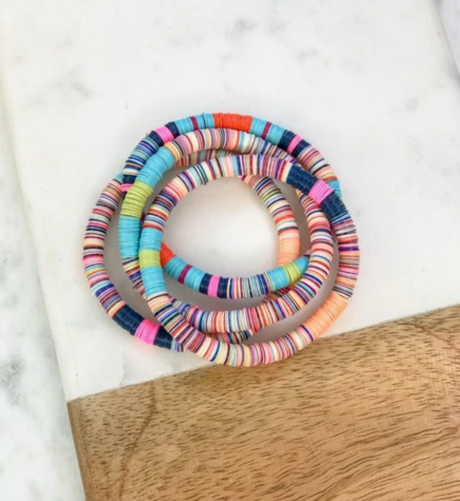 Multi color disk bracelet stack
