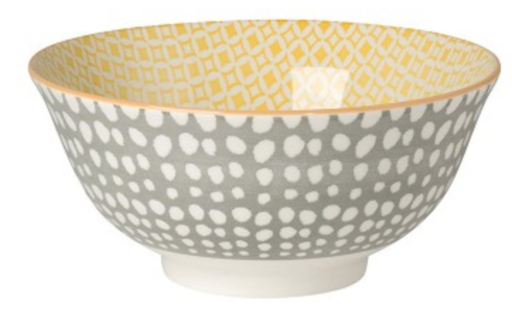 Stamped Bowl - Gray Dots/Yellow
