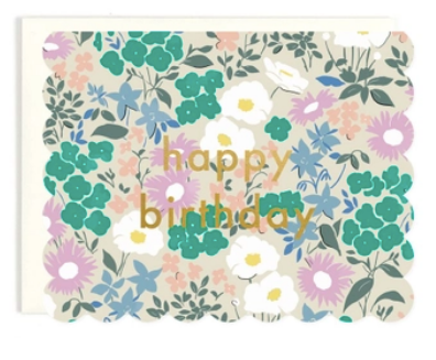 Birthday Scalloped Floral Greeting Card
