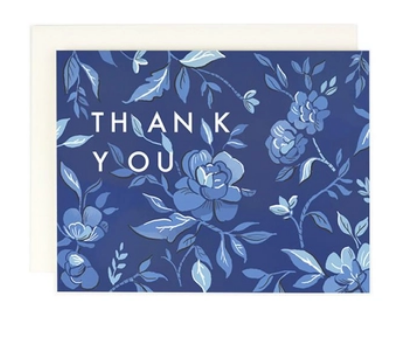 Thank You Indigo Floral Greet Card Box Set