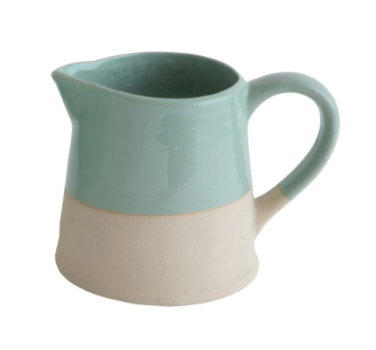 Stoneware Mint and Cream Pitcher