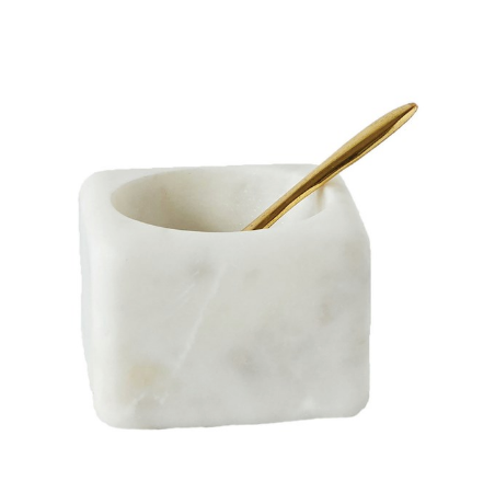 Marble Bowl and Brass Spoon