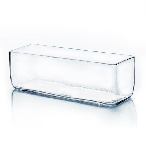 Clear Glass Rectangle Planter