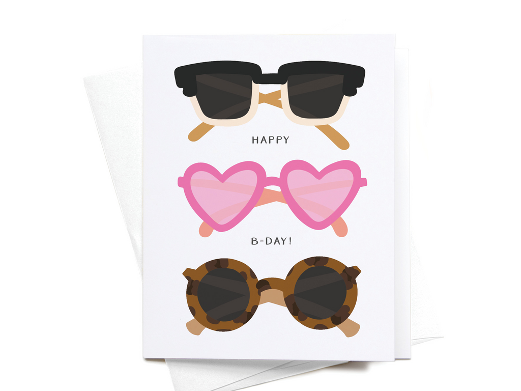 Happy B-Day! Sunglasses Greeting Card - onderkast-studio