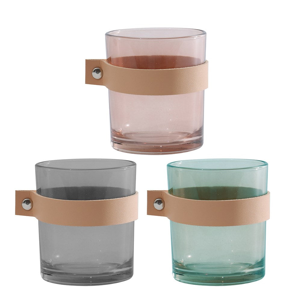 Glass Candle Holder, 3 Colors