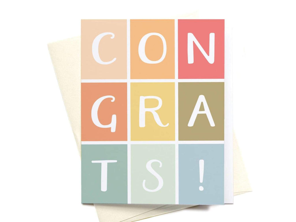 Congrats! Colorblocks Greeting Card - onderkast-studio