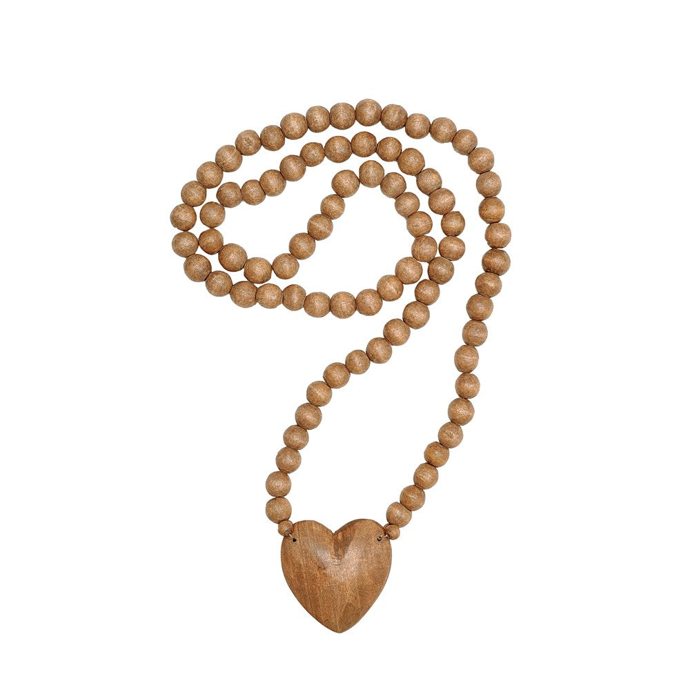 "36""L Wood Hand-Carved Bead Strand w/ Heart"
