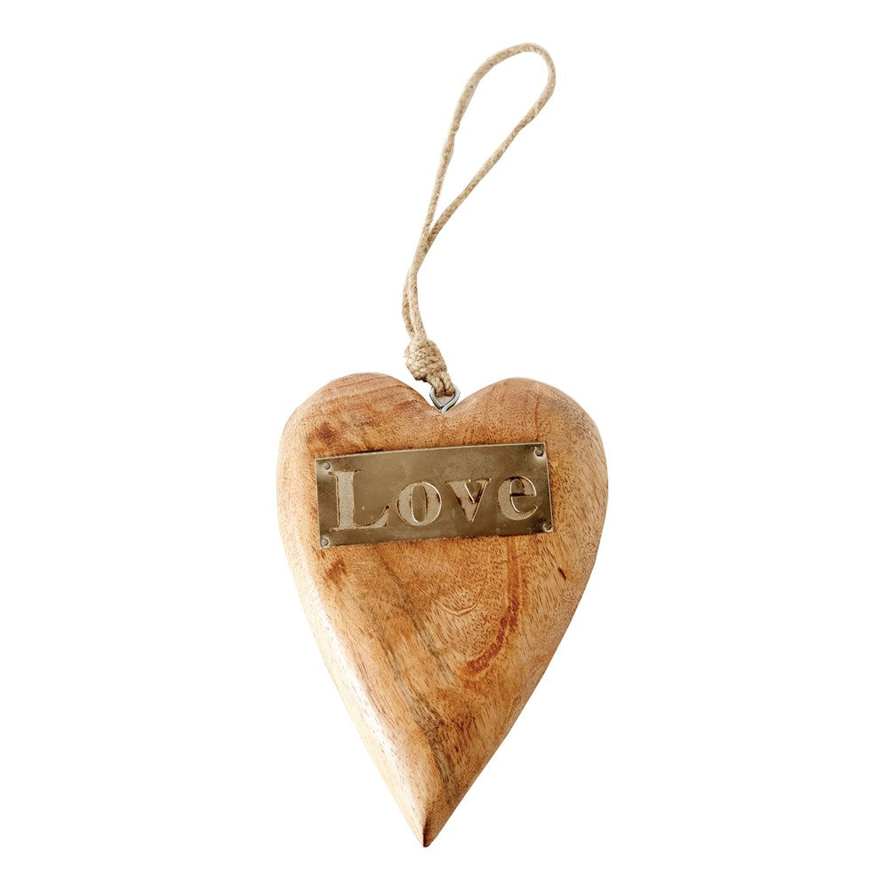 "Mango Wood Hanging Heart w/ Metal ""Love"""