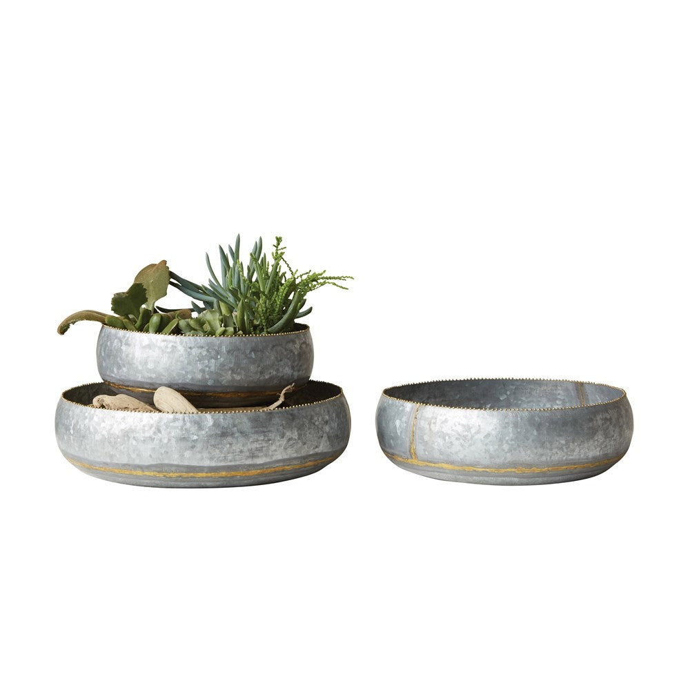 Round Decorative Galvanized Metal Bowls