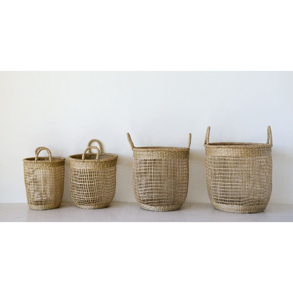 Round Hand-Woven Natural Seagrass Baskets w/ Handles, Set of 4