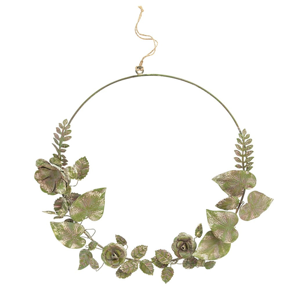 Round Metal Tole Floral Wreath, Distressed Green & Plum Finish