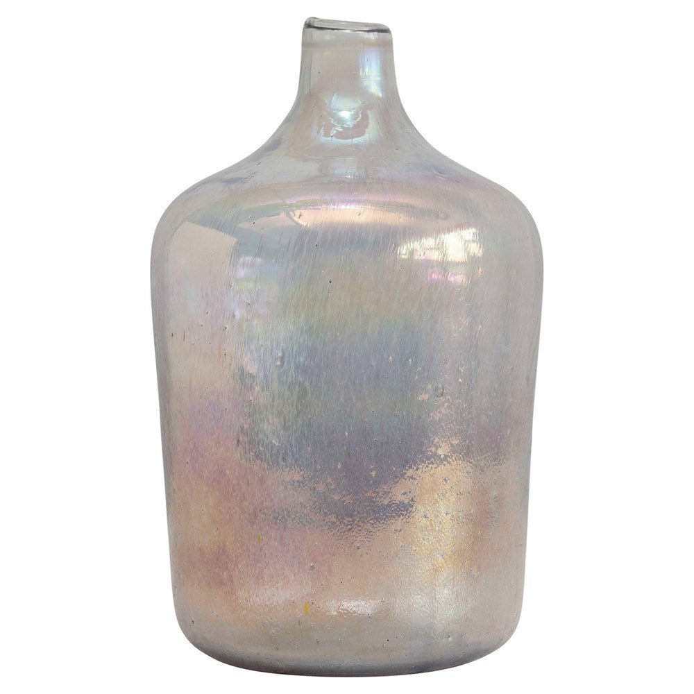 "6"" Round x 11""H Glass Vase, Distressed Opal Iridescent Finish"