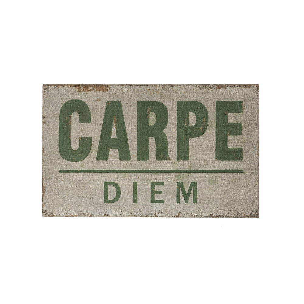 "Wood Wall Decor, Distressed Finish ""Carpe Diem"""