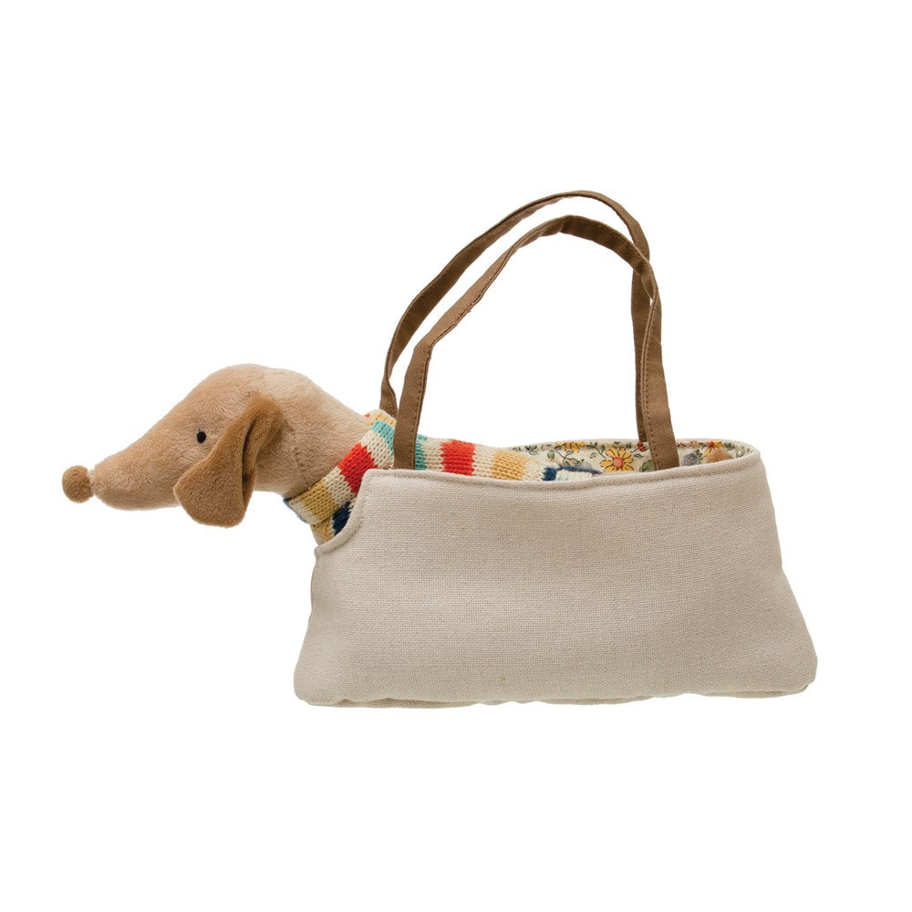 Cotton Removable Dachshund in Dog Carrier, Brown