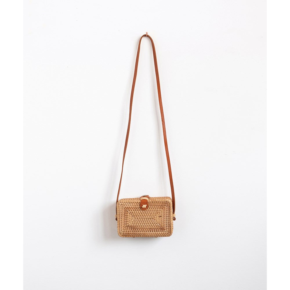 Woven Rattan Siena Shoulder Bag w/ Leather Strap & Clasp