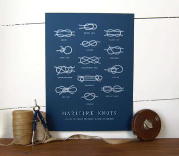 Nautical Knots Art Print - Navy