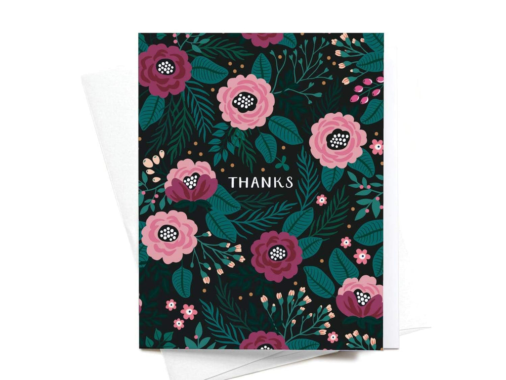 Thanks Floral Greeting Card - onderkast-studio